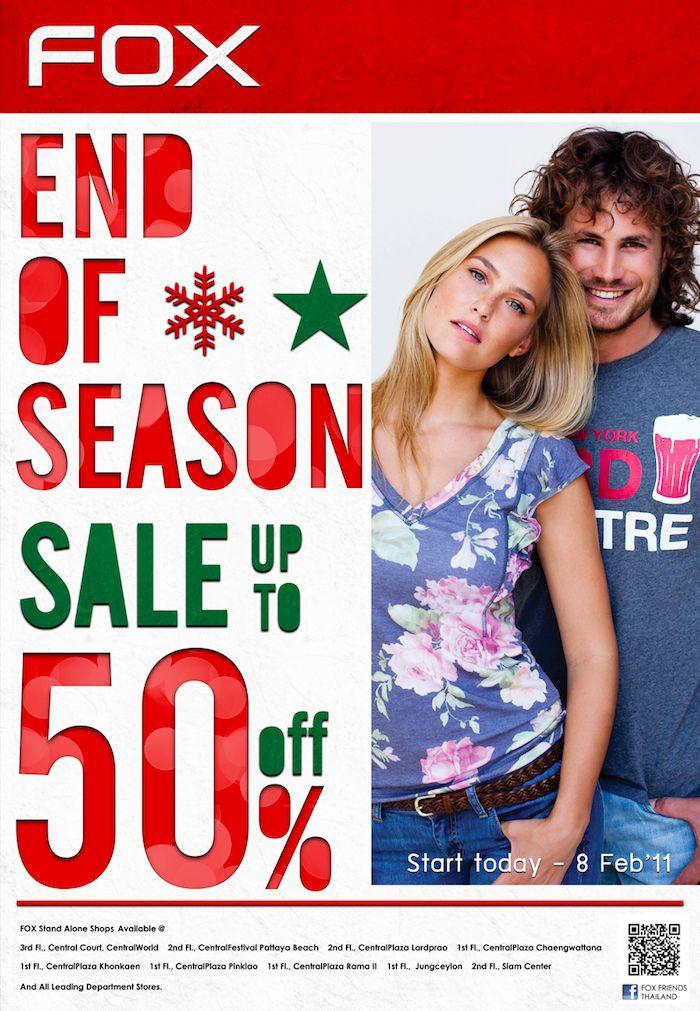 FOX End Up Season Sale 2010 up to 50% off คอลเลคชั่นรับลมหนาวจาก FOX ลดสูงสุด 50%