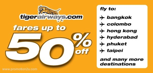Promotion Tiger Airways Celebrate Tigetconnect Fare up to 50% off Jan.2013
