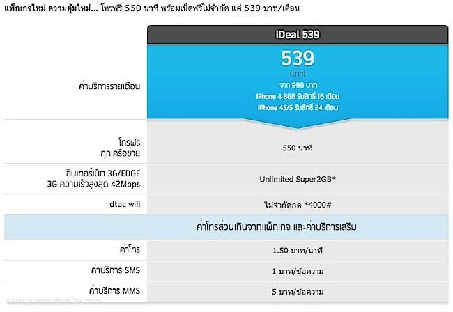 ราคาแพ็คเกจ iDeal 539 จากดีแทค