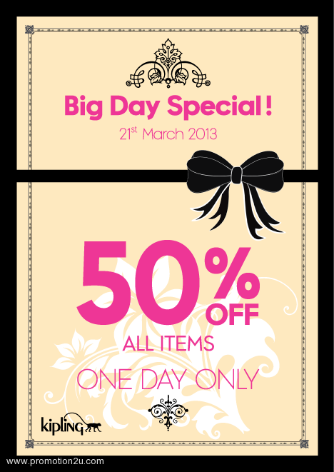 Promotion Kipling Big Day Special Sale 50% All Items [21Mar.2013]