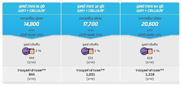 Dtac iPad Mini รับส่วนลดสูงสุด 1,218 บาท