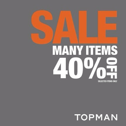 Promotion TOPMAN Many Items Sale up to 40% off [Apr.2013]