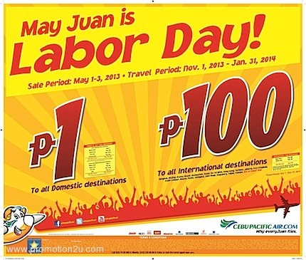 Promotion Cebu Pacific Labor Day 2013 Fly 1 & 100 Peso