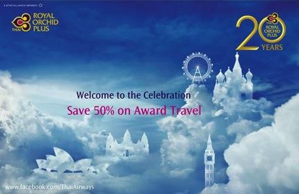 Promotion Save 50 on THAI Award Travel with 20 Year Celebration Award Seat Sale
