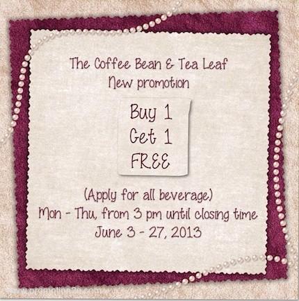 Promotion The Coffee Bean & Tea Leaf 50th Anniversary Buy 1 Get 1 Free [Jun.2013]