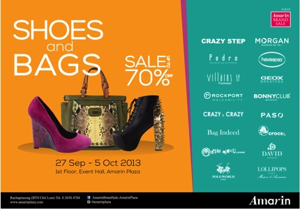 Promotion Amarin Brand Sale: SHOES & BAGS Sale up to 70% off
