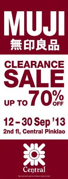 Promotion Muji Clearance SALE Up to 70% @ Central Pinklao