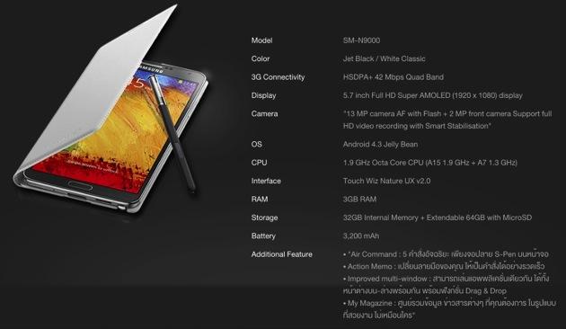 Samsung Galaxy Note 3 Spec