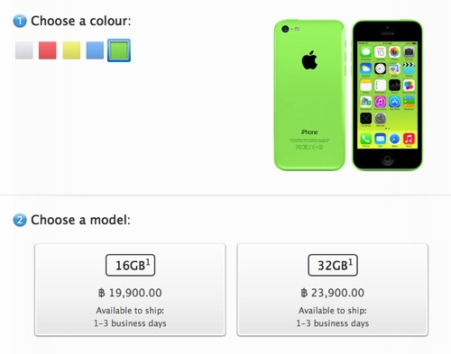 Apple iPhone 5c at Apple Online TH