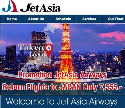 Promotion JetAsia Airways Return Flights to JAPAN Only 7,555.-