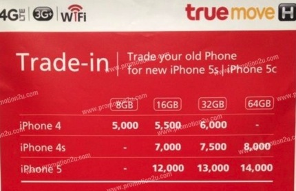 Promotion TrueMove iPhone 5s & iPhone 5c Trade-in Discount Started 5,000.-