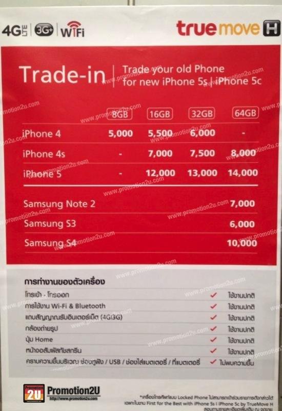 โปรโมชั่นเก่าแลกใหม่ iPhone และ Samsung Trade-in แลกส่วนลดซื้อ iPhone 5s และ iPhone 5s จาก TrueMove