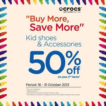 โปรโมชั่น Crocs Kids คู่ที่ 2 ลด 50%