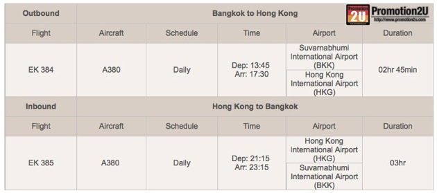 Promotion Emirates Air Return Flights to Hong Kong 6,190.-Flight Schedule