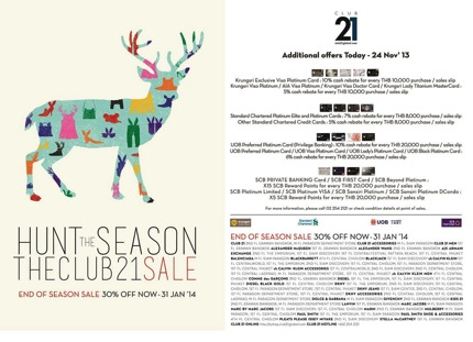 Promotion HUNT THE SEASON! THE CLUB 21 END OF SEASON SALE 30% OFF