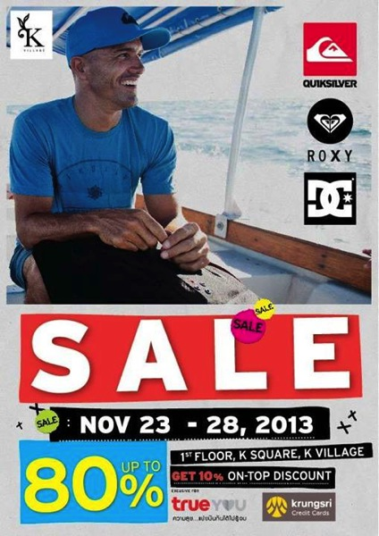 Promotion Quicksilver, Roxy, DC Sale up to 80% @ K-Village