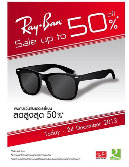 Promotion Ray-Ban Sale up to 50% off @ Robinson
