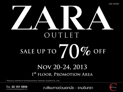 Promotion ZARA Outlet Sale up to 70% off @ The Crystal