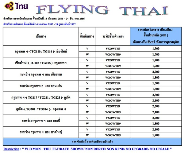 Flying Thai Promotion 2014