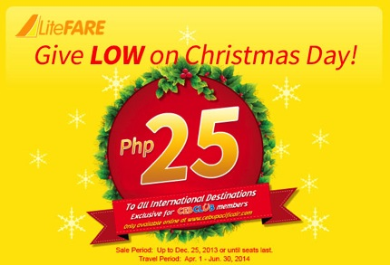 Promotion Cebu Pacific Give Low on Christmas Day Started 25 Php
