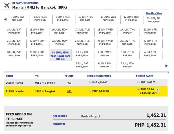Promotion Cebu Pacific January Juan Started 20.14 Php MNL-BKK