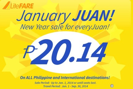 Promotion Cebu Pacific January Juan Started 20.14 Php
