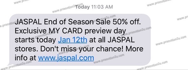 Promotion JASPAL End Of Season Sale Jan.2016 up to 50 off SMS MY CARD