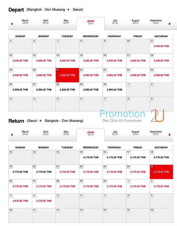 Promotion AirAsia Light Season Fly to Seoul 6160 Table