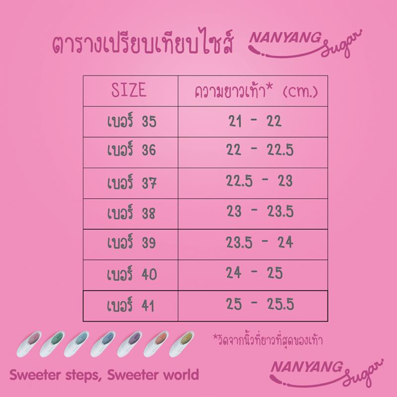 Promotion Nan Yang Sugar Pnly 329.- Get Free Fruity Ribbon ตารางเปรียบเทียบขนาดเบอร์รองเท้า