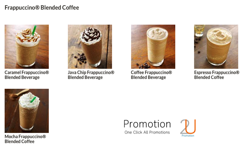 Promotion Starbucks Frappuccino Happy Hour Save 50 [May.-June.2016] Menu1