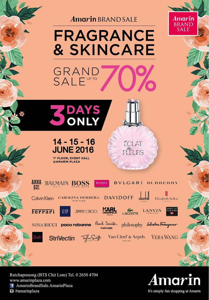 Promotion Fragrance & Skincare Grand Sale 2016 up to 70% off @ Amarin Brand SalePromotion Fragrance & Skincare Grand Sale 2016 up to 70% off @ Amarin Brand Sale