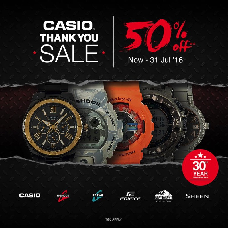 Promotion Casio 30th Anniversary in Thailand Sale up t 50% Off