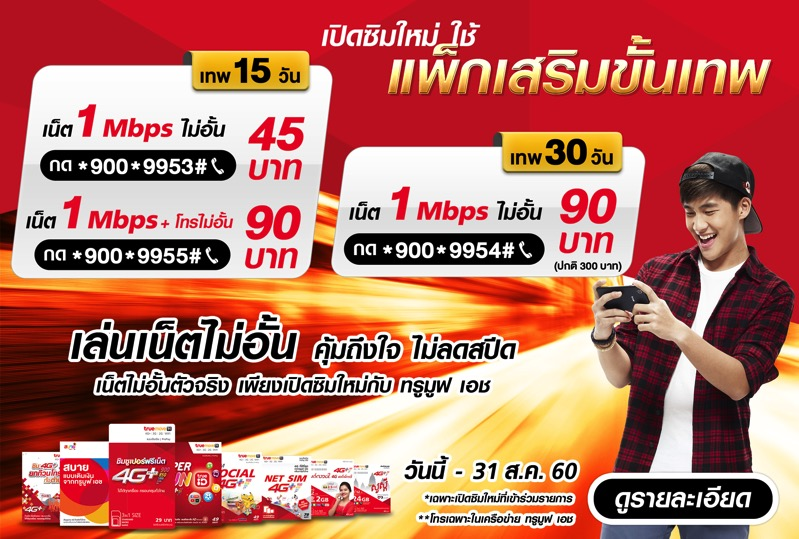 Promotion TrueMoveH Pro True Tep Unlimit Internet 1 Mbps 15 Days Only 45 Baht P02