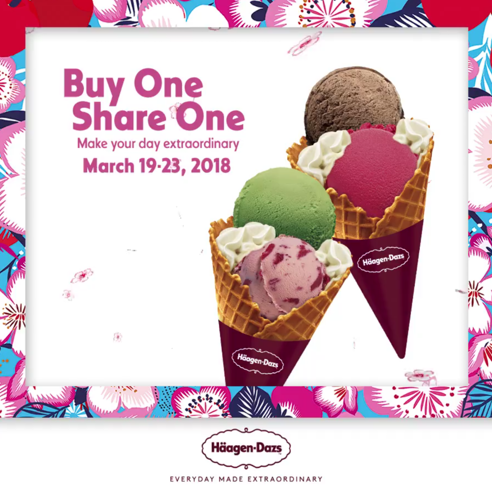 promotion Häagen-Dazs 1 Free 1 for double scoop mar 2018