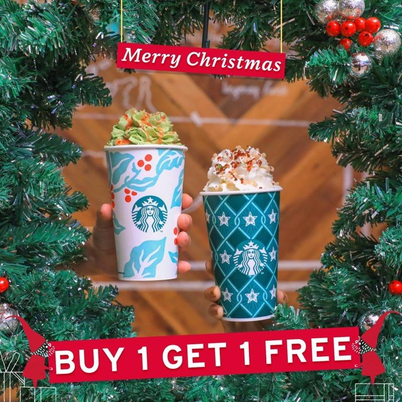 Promotion Starbucks Merry Christmas 2018 Buy 1 Get 1 Free FULL