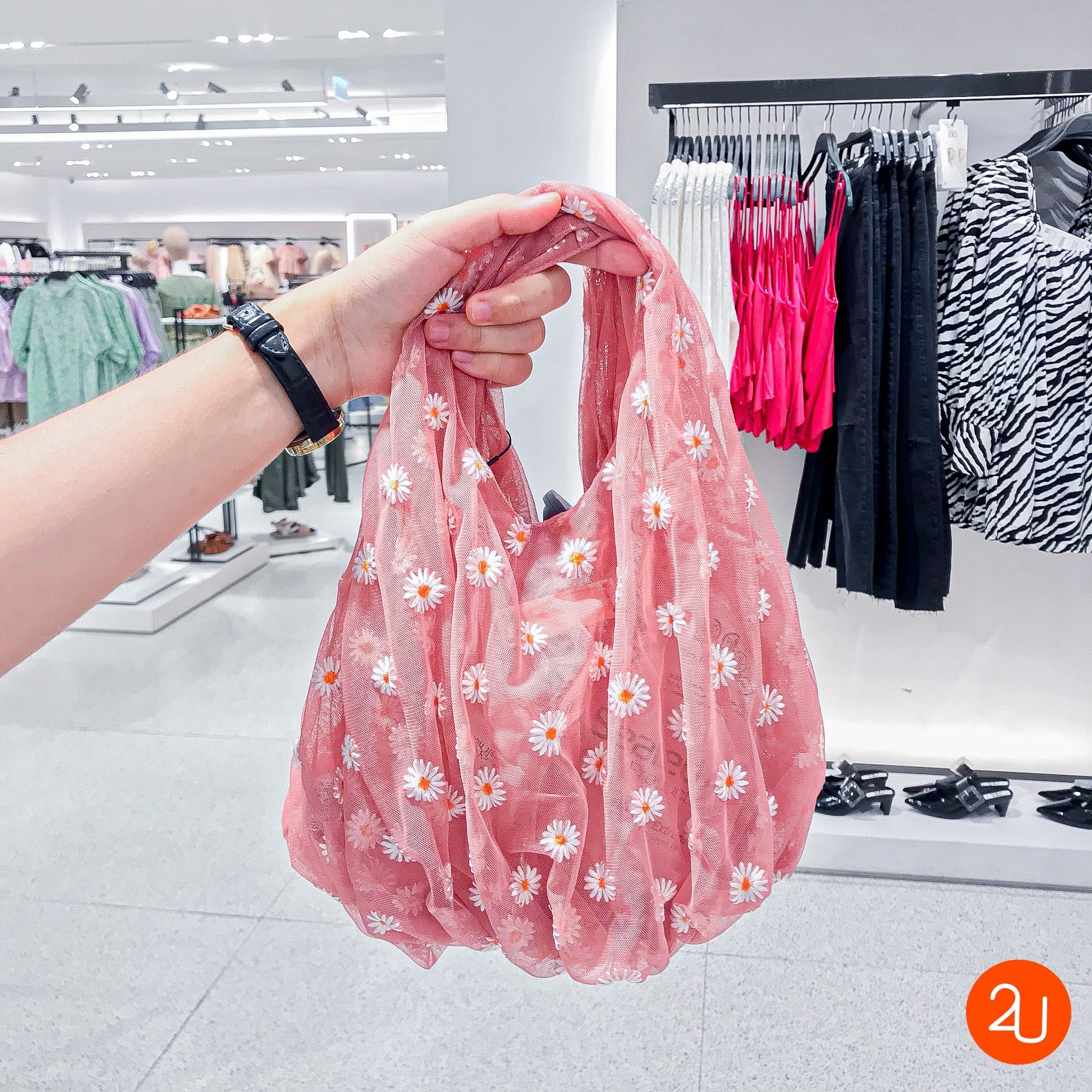 Embroidered Tulle Bucket Bag By ZARA