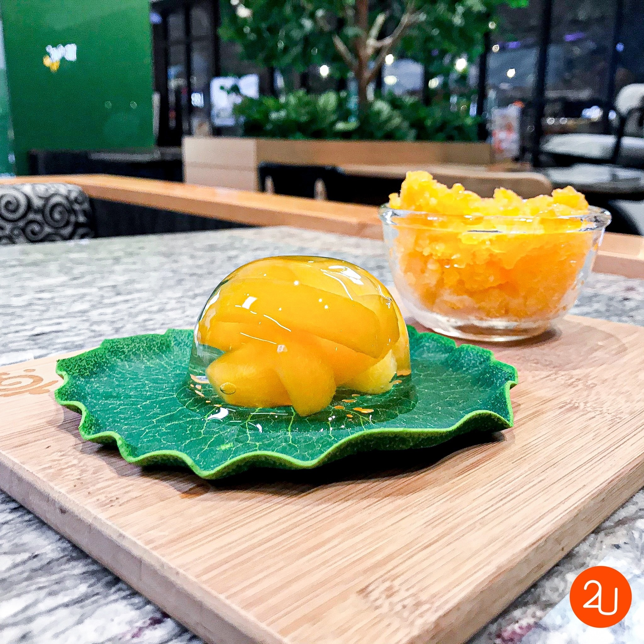 Marian Plum Raindrop With Refreshing Marian plum granita by Kyo Roll En